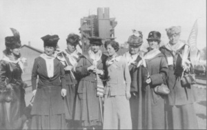 Women on the Hughes Special Train. Annie S. Peck is pictured on the far right.